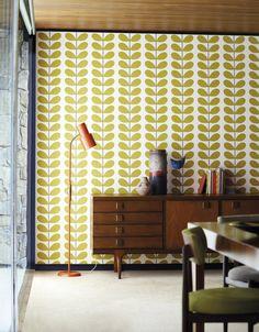 Tapete Classic Stem col.05 | Tapetenmuster - Mustertapeten in den Farben grüngelb - braun | Grundton beige (wallandimage.com)