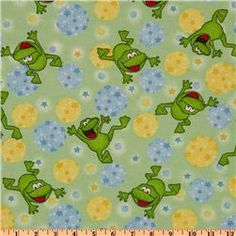 Comfy Flannel Frogs Green