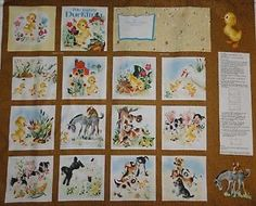 The-Little-Golden-Books-Fabric-Panel-The-Fuzzy-Duckling-Farm-animals-childrens