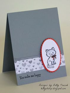 Kitty Stamp: Pretty Kitty (Stampin' Up) and like OMG! get some yourself some pawtastic adorable cat apparel! Cat Cards, Kids Cards, Pretty Cats, Pretty Kitty, Pet Sympathy Cards, Hand Made Greeting Cards, Stamping Up Cards, Animal Cards, Cards For Friends