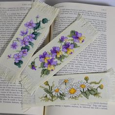Cross Stitch Bookmarks Florals Set of 3 Handmade by CopperNugget