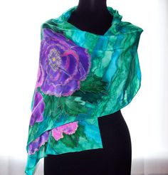 batik silk scarf Scarf with flowers peonies on scarf by batikelena