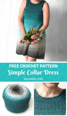 Simple Collar Dress - free crochet dress pattern by WilmadeLooking for a crochet dress pattern? Check out my Simple Collar Dress which is a beginner friendly pattern - including video - with a stunning result. Mode Crochet, Crochet Gratis, Easy Crochet, Crochet Lace, Crochet Summer, Thread Crochet, Crochet Stitches, Crochet Bodycon Dresses, Crochet Skirts