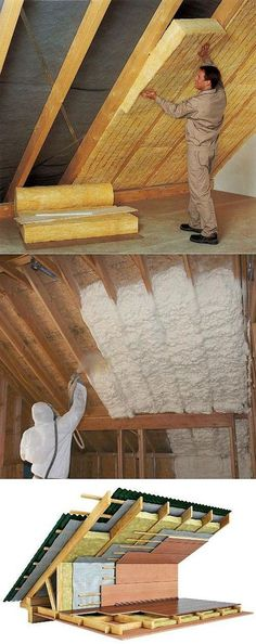 Save your energy bills with roof insulation. Save your energy bills with roof insulation. Attic Renovation, Attic Remodel, Roof Design, House Design, Roof Insulation, Casas Containers, A Frame House, Home Repairs, House In The Woods