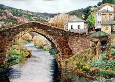 Puente en Quiroga (Lugo), 2001, 50x35 cm. Bridge, Peace, Watercolor Painting, Paisajes, Paintings