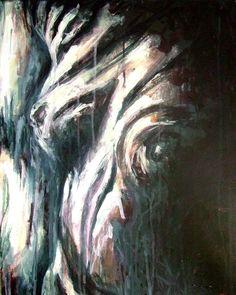 Chorégraphie d'ondulations lumineuses, acrylique sur toile, 20 po x 16 po, 2008.