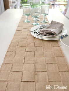 Jute Table Runner made with burlap