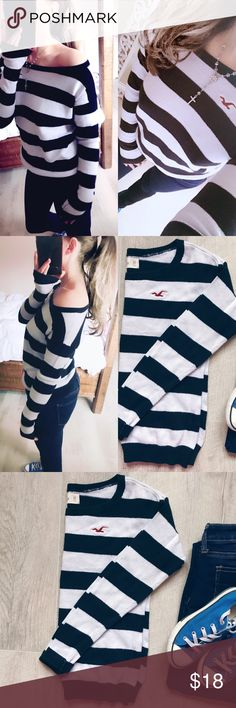 Hollister sweater Super cute Hollister sweater! Dark navy blue and white stripes! Size XS. Can fit S. Love this sweater 😻it has a stretch fit to it! Can wear off the shoulder too if you prefer! My pre owned sweater❤️kept nice! Minimal piling. Offers welcome no trades thank you Hollister Sweaters Crew & Scoop Necks