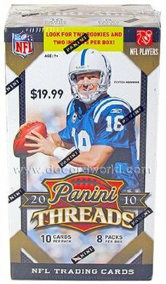 2010 Panini Threads Football 8-Pack Box by Threads. $9.95. Look for (2) Rookies and (2) Inserts Per Box!! Find randomly inserted Autograph and Memorabilia Cards!! Look for Game Day Jerseys numbered to 299 or less! 8 Packs Per Box, 10 Cards Per Pack