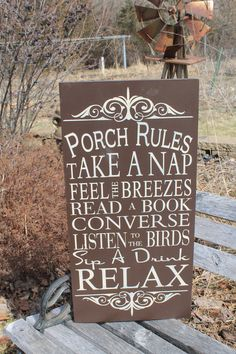 """Porch Rules typography subway sign. """"Relax"""" """"sip a Drink"""" and more included on this sign WHICH CAN BE CUSTOM MADE/PERSONALIZED. Beautiful wooden sign decor that would look perfect sitting on your front porch as guests are welcomed into your home.  Find this wooden chic sign and more at: https://www.etsy.com/listing/287660627/vintage-style-custom-porch-rules-sign"""