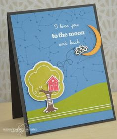 To The Moon And Back Card by Nichole Heady for Papertrey Ink (September 2013)