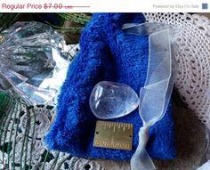 ON SALE Plush Royal Blue Draw String Bag by CherylsGoodStuff
