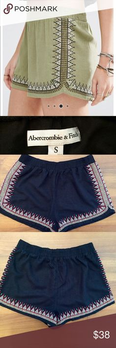 """Abercrombie & Fitch for ASOS Embroidered Linen Mix Like New Fun and Fresh shorts by Abercrombie & Fitch for ASOS size small. COLOR BLACK. 85% Viscose 15% Linen. Embroidered detail in: burgundy, gray, white, and blushy peach. Excellent condition.  Shorts 10"""" long. ASOS Shorts"""