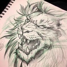 Instagram: @mike_tattoo Lion sketch toronto tattoos red9ine tattoos drawing art original art