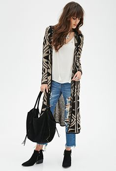 Multicolor Tribal Print Southwestern-Patterned Maxi Long Cardigan Sweater | FOREVER21 - 2000056693 $30