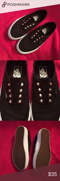 Studded Vans Slip-ons Black canvas. Gold studs. Slip-on. Women's size 6 (Men's size 4.5). Only been worn a couple of times. They still look brand new. Comes with original box. PRICE FIRM. If these don't sell, I'll just keep them. Vans Shoes Sneakers