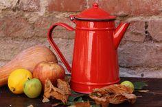 Enamel Teapot - Vintage Red Tea Pot - Enamel Teapot - Shabby Chic Tea Kettle - Enamel Coffee Pot - Farmhouse Decor - Rustic Home
