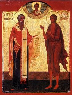 Russian icon depicting Saint Andrew of Crete (left) and Saint Mary of Egypt.