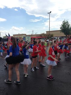 Moves Dance Studio warming up for the North Aurora Community Parade, 2014.