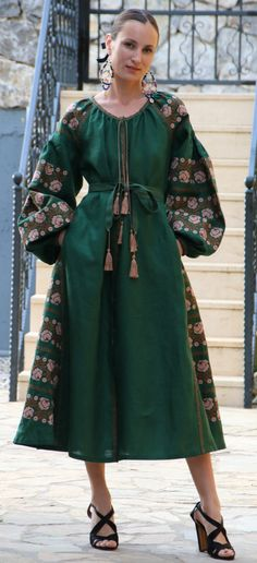 Dark green Vita Kin style linen vyshyvanka linen MIDI dress Copper blush Embroidery. Sizes - XS-XXL MD042