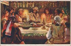 """Osyp Kurylas """"Hutsul Christmas Eve"""" (Postcard from 1939) Ukraine"""