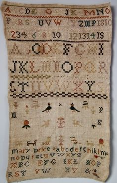 My kind of sampler....Mary Price 1810 Madelena.com 17ins by 10ins wide The sampler is worked in silk on linen ground, in a variety of stitches including Algerian eye. No border, divider lines in various patterns. Colours black, cream, blue, green, pink, copper and brown.