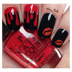 Blood drops and lips Halloween nail art, black red nails ❤ liked on Polyvore featuring beauty products, nail care, nail treatments and nails