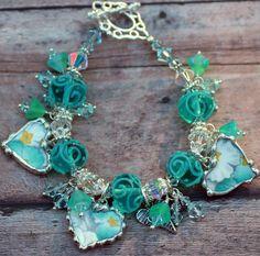 Broken China Jewelry Pendant Necklace Pink by Robinsnestcreation1