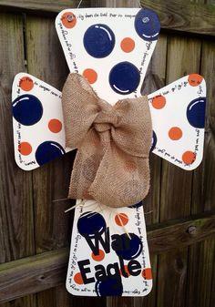 Auburn Wooden Cross Door Hanger by SweetSophieJacks on Etsy, $35.00