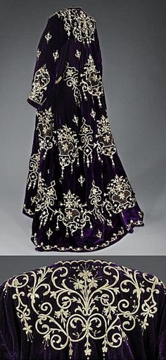 'Bindallı entari': wedding dress, from Edirne. Lat e-Ottoman, urban style, early century. Belonged to a Jewish family. Goldwork on velvet. Historical Costume, Historical Clothing, Israel Museum, Beautiful Gowns, Beautiful Outfits, Edwardian Fashion, Vintage Fashion, Vintage Dresses, Vintage Outfits