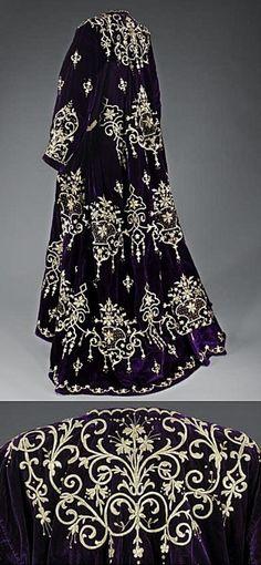 'Bindallı entari': wedding dress, from Edirne.  Late-Ottoman, urban style, early 20th century. Belonged to a Jewish family.  Goldwork on velvet.  Embroidery technique: 'sarma' / 'Maraş işi'.  (Israel Museum, Jerusalem).
