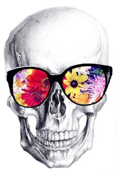 flower glasses ; skull