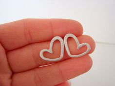 Sterling Silver Heart Earrings Valentines by Nafsika on Etsy, $29.00