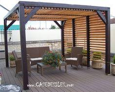 Abri terrasse bois avec vantelles 12mc VT3536 au Meilleur Prix