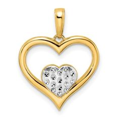 14k And White Rhodium D/C Heart Inside Heart Pendant / Style: M3007 #QualityGold #HeartPendant #Jewelry