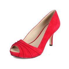 Rialto Rialto Red Suedette Seville Peep-Toe Kitten Heel  Shoes