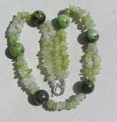 Green Jade & Chrysotine Crystal Gemstone Necklace by SunnyCrystals, £17.25
