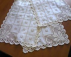 Crochet Doily Diagram, Crochet Squares, Crochet Motif, Hand Crochet, Crochet Lace, Crochet Table Topper, Crochet Table Runner, Crochet Tablecloth, Vintage Crochet Patterns
