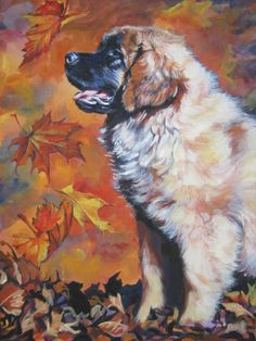 Leonberger art print CANVAS print of LA Shepard by TheDogLover