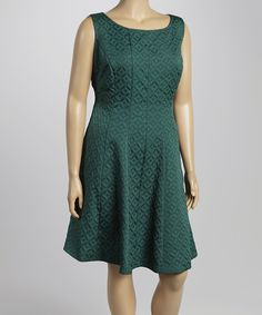Look at this Julian Taylor Hunter Green Jacquard Sheath Dress - Plus on #zulily today!