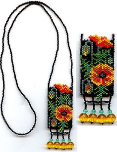 #beadwork  Poppies Beaded Necklace 2