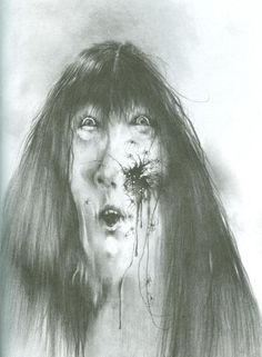 "I totally remember this image from the book in my elementary school - ""Scary Stories to Tell in the Dark""  Apparently, they've republished the book and taken out all of the creepy drawings."
