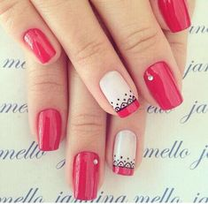 Imagen de nails, fashion, and girl Uñas Yois Red Nails, Love Nails, Pretty Nails, Spring Nail Art, Spring Nails, Summer Nails, Fabulous Nails, Perfect Nails, Diy Ongles