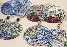 Mother of pearl handpainted earrings -Coimbra's traditional painting of XVII century - by Isaura Marques