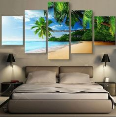 Tropical Beach Sea Beach Coconut 5 Pieces canvas Wall Art Picture Home Decor 5 Piece Canvas Art, Canvas Wall Art, Wall Art Prints, Poster Prints, Posters, Canvas Prints, War Photography, Types Of Photography, Wall Art Pictures