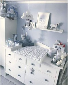 """Changing mat """"Cloud for IKEA Hemnes / Songesund chest of drawers - room ideas for . - Changing mat """"Cloud for IKEA Hemnes / Songesund chest of drawers – room ideas for children Clo - Baby Room Themes, Baby Boy Room Decor, Baby Room Design, Baby Bedroom, Baby Boy Rooms, Baby Boy Nurseries, Girl Room, Nursery Room, Baby Room Furniture"""