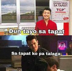 """""""Dun tayo sa tapat"""" Hugot Lines Tagalog Funny, Tagalog Quotes Hugot Funny, Memes Pinoy, Memes Tagalog, Filipino Quotes, Filipino Funny, Jokes Quotes, Funny Quotes, Cute Korean Boys"""