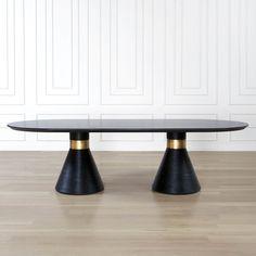 Kelly Wearstler Miramar Dining Table - Slate, ebonized wood, & burnished brass!! *swoon*