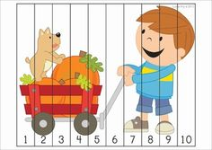 Math Centers for Kindergarten - Autumn / Fall. A page from the unit: Number Puzzles Number Puzzles, Math Numbers, Autumn Theme, Autumn Fall, Math For Kids, Autumn Activities, Mini Quilts, Kindergarten Activities, Math Centers