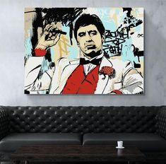 Canvas print of Tony Montana aka Scarface. Oil Painting On Canvas, Canvas Artwork, Canvas Art Prints, Fine Art Prints, Art Pop, Décoration Game Of Thrones, John Snow, Deco Cinema, Tableau Star Wars